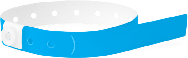 A Soft Comfort L-Shape Snapped Solid Neon Blue wristband