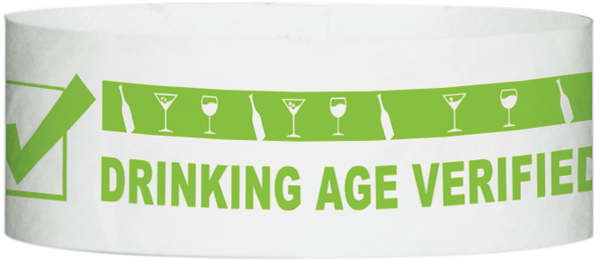 "A Tyvek® 1"" x 10""  Drinking Age Verified Neon Lime wristband"