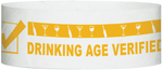 "A Tyvek® 1"" x 10""  Drinking Age Verified Neon Orange wristband"