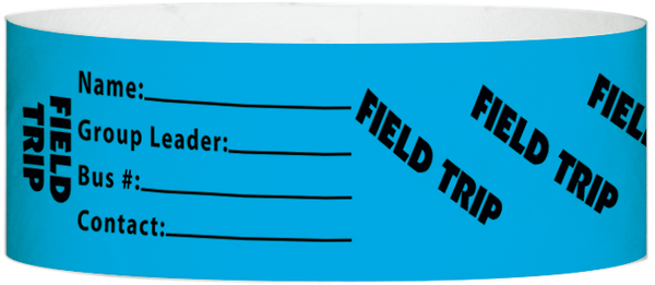 "A Tyvek® 1"" X 10"" Field Trip Light Blue wristband"