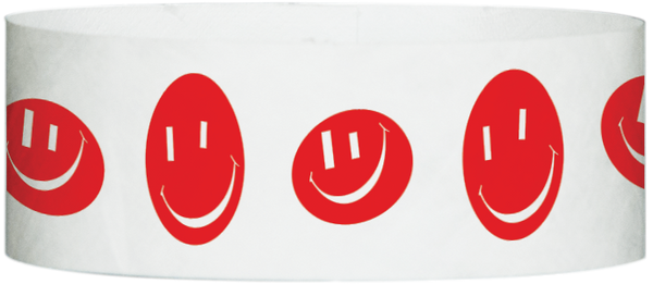 "A Tyvek® 1"" X 10"" Happy Face Red wristband"