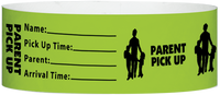 "A Tyvek® 1"" X 10"" Parent Pickup Neon Lime wristband"