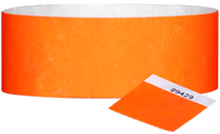"A 1"" Tyvek® with stub solid Neon Orange wristband"