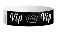 "A Tyvek®  3/4"" x 10"" Sheeted Pattern VIP Crown Black wristband"
