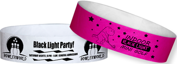"Custom Tyvek® 3/4"" x 10"" Solid Glow Under Black Light One Colour Imprint Wristbands"