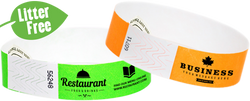 "Custom Litter Free 3/4"" Tyvek® One Colour Imprint Wristbands"