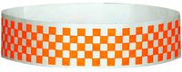 "A Tyvek® 3/4"" X 10"" Checkerboard Neon Orange wristband"