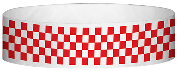 "A Tyvek® 3/4"" X 10"" Checkerboard Red wristband"