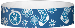 "Tyvek® 3/4"" x 10"" Blue Decorations pattern wristbands"