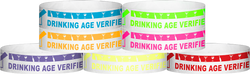 "Tyvek® 3/4"" x 10"" DAV Drinking Age Verfication pattern wristbands"