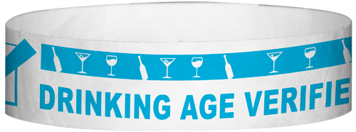 "A Tyvek® 3/4"" X 10"" DAV Drinking Age Verfication Light Blue wristband"