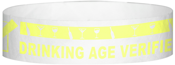 "A Tyvek® 3/4"" X 10"" DAV Drinking Age Verfication Yellow Glow wristband"