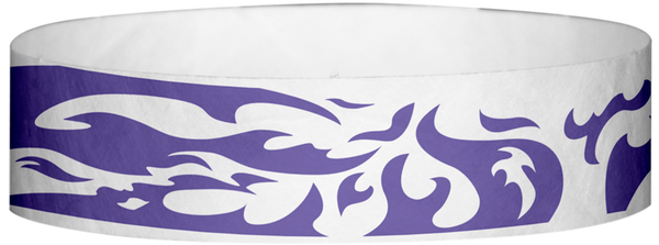 "A Tyvek® 3/4"" X 10"" Flames Purple wristband"
