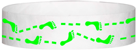 "A Tyvek® 3/4"" X 10"" Foot Prints Neon Lime wristband"