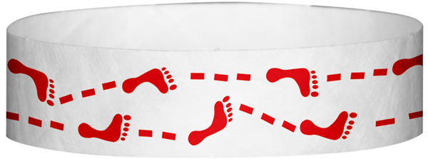 "A Tyvek® 3/4"" X 10"" Foot Prints Red wristband"