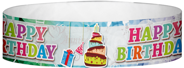 "A Tyvek® 3/4"" X 10"" Happy Birthday Cake Wristband"