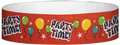 "Tyvek® 3/4"" x 10"" Party Time Red pattern wristbands"