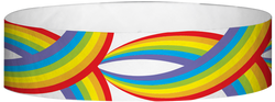 "Tyvek® 3/4"" x 10"" Rainbows pattern wristbands"