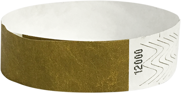 "A 3/4"" Tyvek® litter free solid Gold wristband"