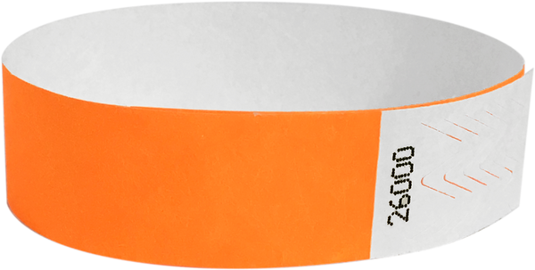 "A Tyvek® 3/4"" solid Neon Orange wristband"