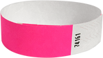 "A 3/4"" Tyvek® litter free solid Neon Pink wristband"