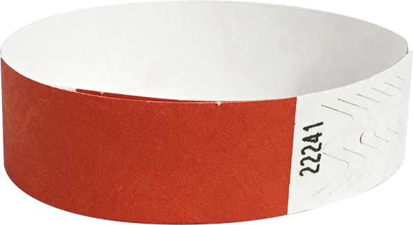 "A 3/4"" Tyvek® litter free solid Red wristband"