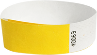 "A 3/4"" Tyvek® litter free solid Yellow wristband"
