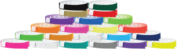 "A Vinyl 1/2"" x 11 1/2"" 1-Stub Snapped Solid Wristbands"
