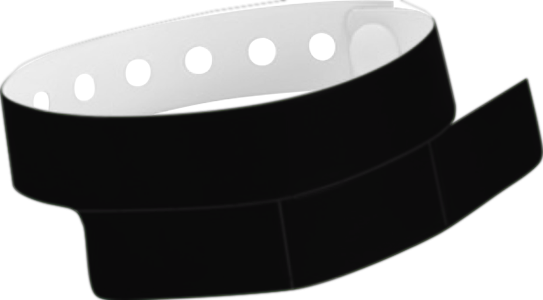 "A Vinyl 1 1/4"" x 9 1/4"" Slim 3-Stub Snapped Solid Black wristband"