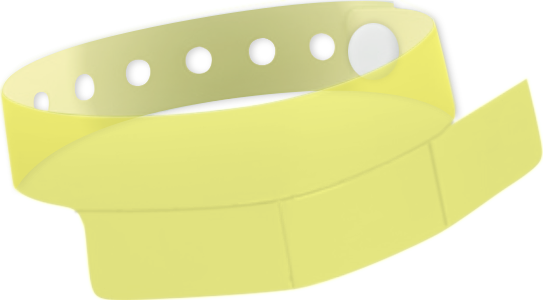 "A Vinyl 1 1/4"" x 9 1/4"" Slim 3-Stub Snapped Solid Edge Glow Yellow wristband"