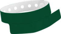 "A Vinyl 1 1/4"" x 9 1/4"" Slim 3-Stub Snapped Solid Forest Green wristband"