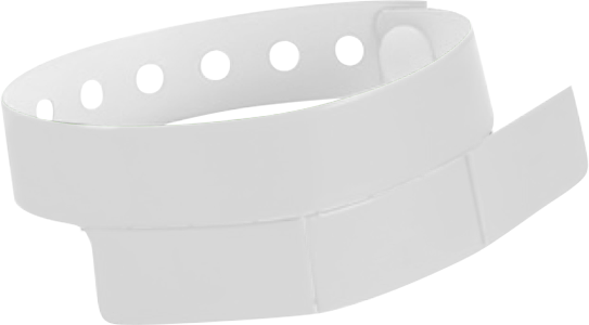 "A Vinyl 1 1/4"" x 9 1/4"" Slim 3-Stub Snapped Solid White wristband"