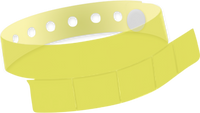 "A Vinyl 1 1/4"" x 9 1/4"" Slim 5-Stub Snapped Solid Edge Glow Yellow wristband"