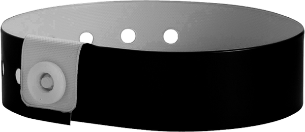 "A Vinyl 3/4"" x 10"" L-Shape Snapped Solid Black wristband"