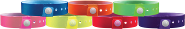 "Vinyl 3/4"" x 10"" L-Shape Edge Glow Snapped Solid wristbands"