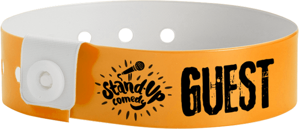 "Custom Vinyl 3/4"" L-Shape One Colour Imprint Snapped Wristband"