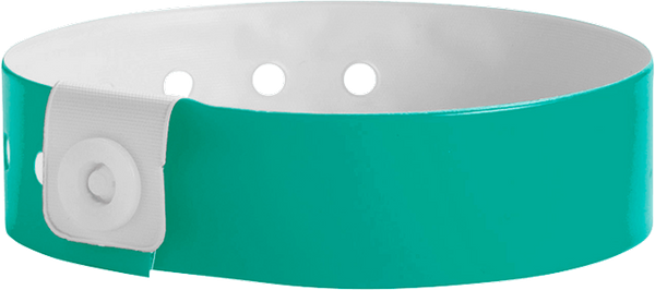 "A Vinyl 3/4"" x 10"" L-Shape Snapped Solid Teal wristband"