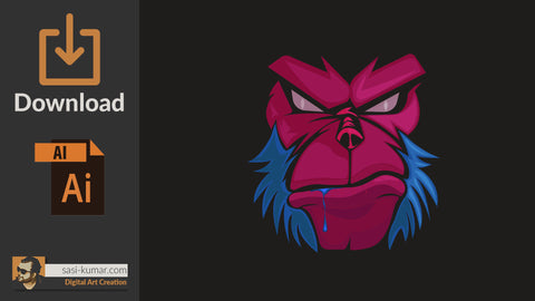 Vector Angry Monkey Face
