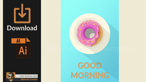 Vector Donut Poster with Good Morning Message