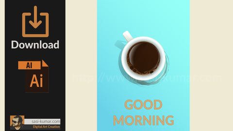 Vector Coffee Cup Poster with Good Morning Message