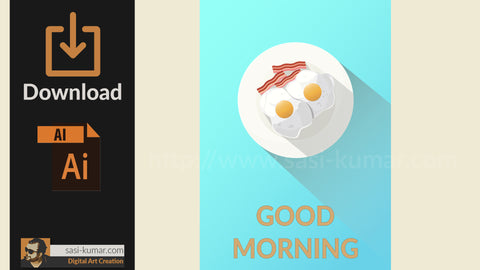 Vector Breakfast Poster with Good Morning Message