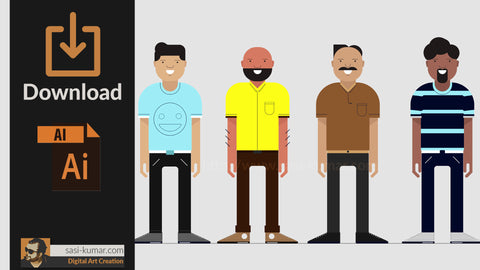 Flat Characters | Four Flat Male Characters | Download AI file