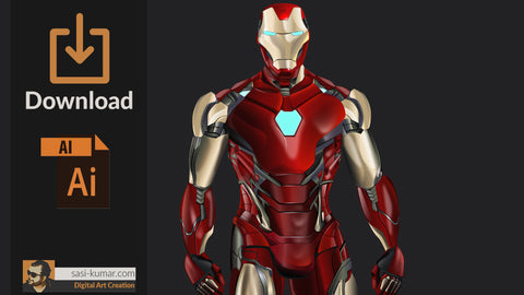 Vector Iron Man Suit - LXXXV | AI Source file