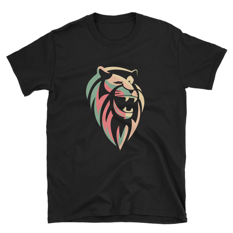 Colorful Lion Face Print Short-Sleeve Unisex T-Shirt
