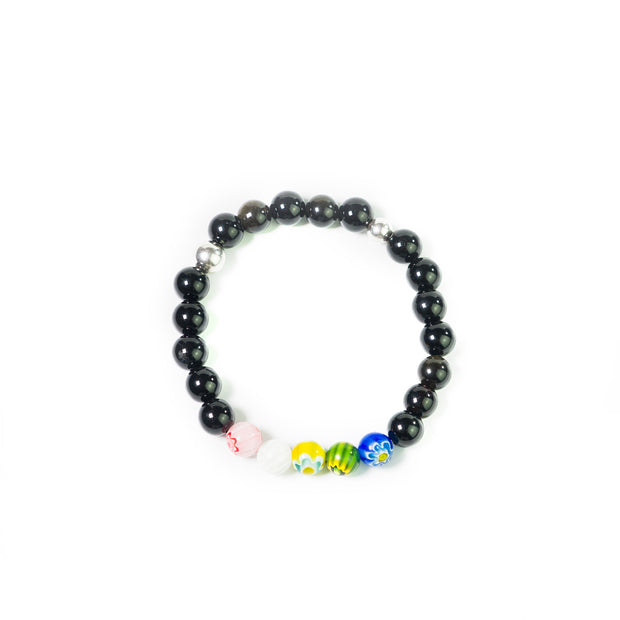 onyx and multicolor murano glass 8mm with sterling silver ball