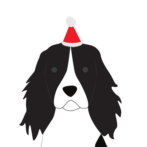 Santa Hat Christmas Card (Springer Spaniel)