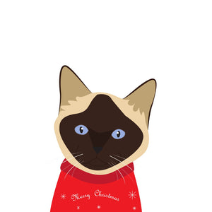 Christmas Sweater Card (Siamese Cat)