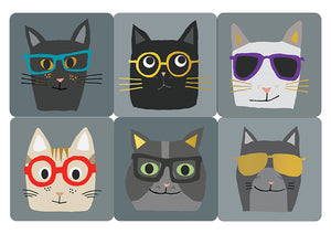 Cartes D'Art Cats with Glasses Coaster Set