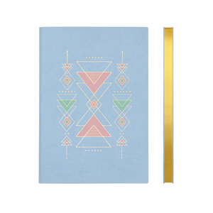Signature Flat Geo Grid Notebook - A5, Sky Blue