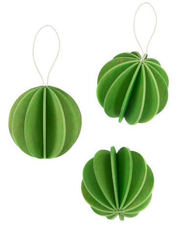 3 Baubles, Light Green (8cm)